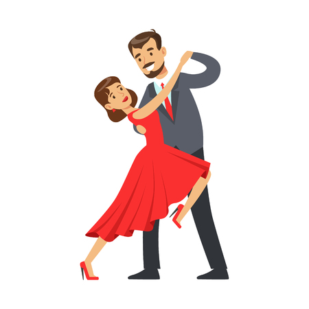Professional dancer couple dancing tango colorful character vector Illustration isolated on a white background