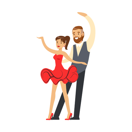 Professional dancer couple dancing in costumes colorful character vector Illustration isolated on a white background