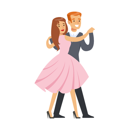 Happy couple dancing waltz colorful character vector Illustration isolated on a white background