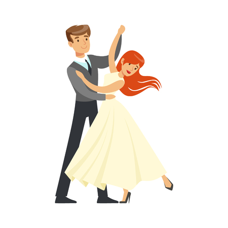 Young couple dancing waltz colorful character vector Illustration isolated on a white background
