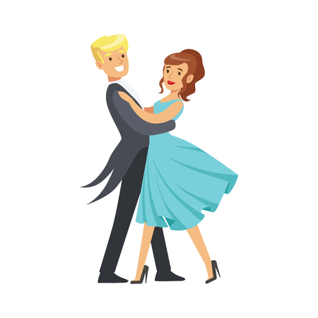 Happy young couple dancing ballroom dance in formal costumes colorful character vector Illustration isolated on a white background Stock Illustratie