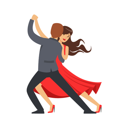 Professional dancer couple dancing latino colorful character vector Illustration isolated on a white background