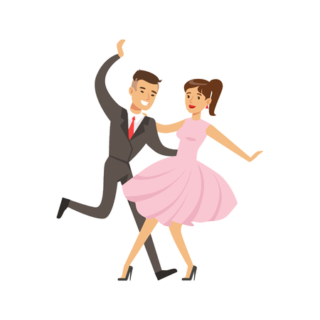 Young couple dancing boogie woogie dance colorful character vector Illustration isolated on a white background Illustration