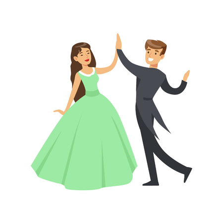 A woman in a ball dress and a man in a frock coat dancing ballroom dance colorful character vector Illustration isolated on a white background