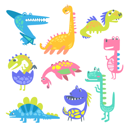 ascendant: Cute funny dinosaurs. Collection of prehistoric animal characters vector Illustrations isolated on a white background