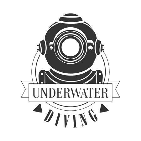 deep sea diver: Diving underwater vintage logo. Black and white vector Illustration for diver school or club emblem, elements for badge, print, tattoo, label