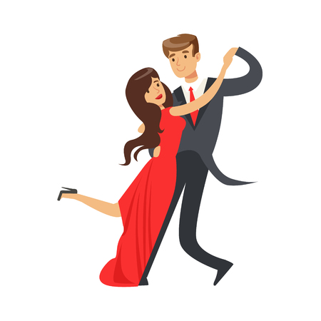 Young happy couple dancing tango colorful character vector Illustration isolated on a white background Illustration