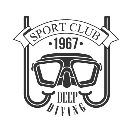 Sport club deep diving 1967 vintage. Black and white vector Illustration for diver school or club emblem, elements for badge, print, tattoo, label Illustration