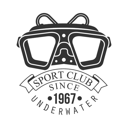 Underwater sport club since 1967 vintage. Black and white vector Illustration for diver school or club emblem, elements for badge, print, tattoo, label