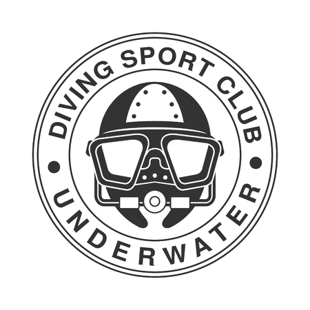 Underwater diving sport club vintage. Black and white vector Illustration for diver school or club emblem, elements for badge, print, tattoo, label