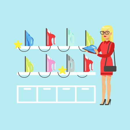 Young blond woman choosing an iron in home appliance store colorful vector Illustration, cartoon character