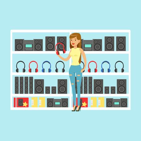 mujer en el supermercado: Young woman choosing headphones at tech store colorful vector Illustration, cartoon characters Vectores