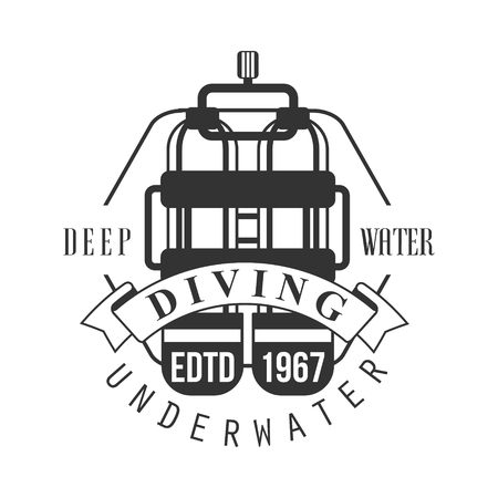 Diving underwater deep water edtd 1967. Black and white vector Illustration for diver school or club emblem, elements for badge, print, tattoo, label