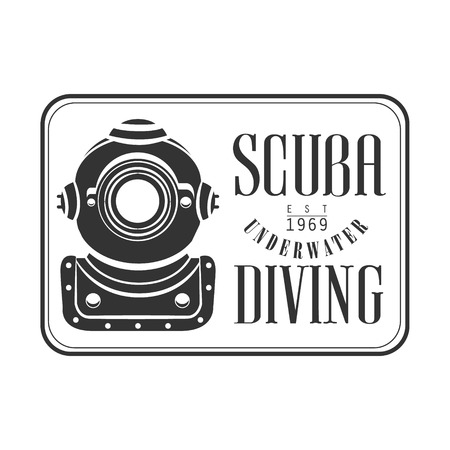 Scuba underwater diving est 1969 vintage. Black and white vector Illustration for diver school or club emblem, elements for badge, print, tattoo, label