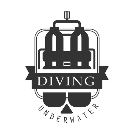 deep sea diver: Diving underwater. Black and white vector Illustration for diver school or club emblem, elements for badge, print, tattoo, label Illustration
