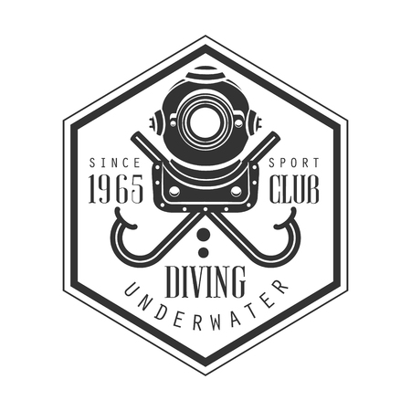 Diving underwater sport club since 1965 vintage. Black and white vector Illustration for diver school or club emblem, elements for badge, print, tattoo, label