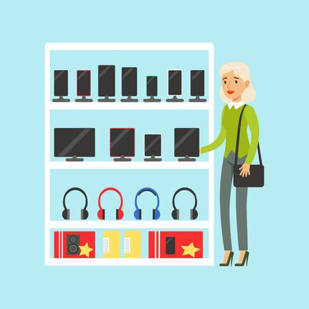 mujer en el supermercado: Young blond woman choosing digital tablet at appliance store colorful vector Illustration, cartoon characters