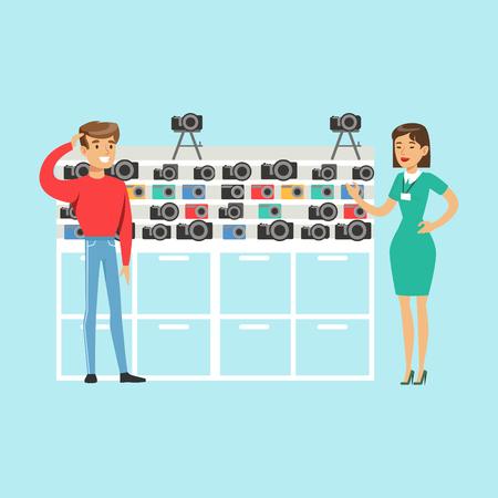 mujer en el supermercado: Joven elegir la cámara con el ayudante de tienda ayudar en la tienda de electrodomésticos vector colorido Ilustración, personaje de dibujos animados