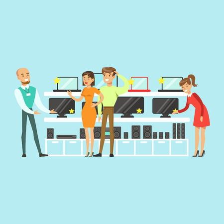 People choosing computer equipment with shop assistant help in appliance store colorful vector Illustration, cartoon characters