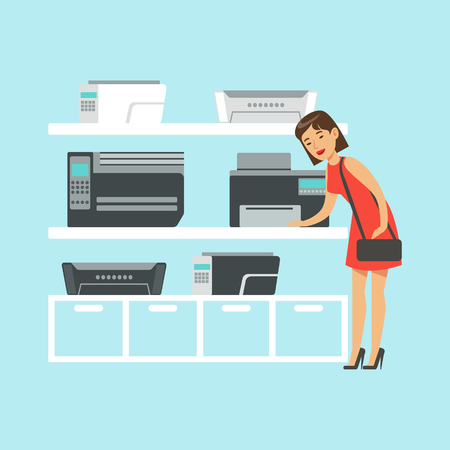 Young woman choosing MFP printer at appliance store colorful vector Illustration, cartoon characters