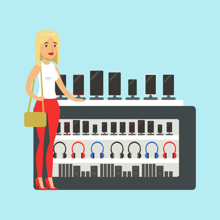 Young blond woman choosing a new mobile phone at appliance store colorful vector Illustration, cartoon characters