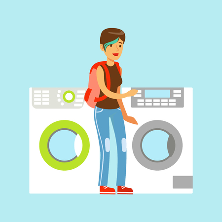 happy shopper: Young woman choosing new clothes washer. Appliance store colorful vector Illustration cartoon characters Illustration