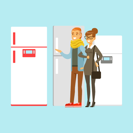 Positive young family couple choosing fridge. Appliance store colorful vector Illustration, cartoon characters Illustration