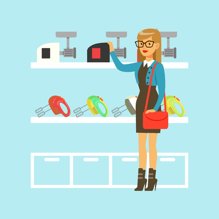 Young blond woman choosing a meat grinder in home appliance store colorful vector Illustration, cartoon character