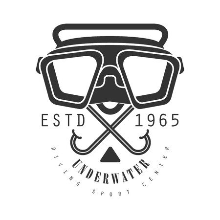 Underwater diving sport center estd 1965 vintage logo. Black and white vector Illustration for diver school or club emblem, elements for badge, print, tattoo, label Illustration
