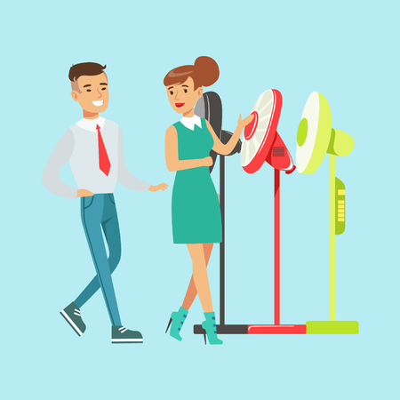 Young woman choosing electric fun with shop assistant help. Appliance store colorful vector Illustration cartoon character Stock Vector - 78613655