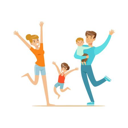 Glückliche Familie mit zwei Kindern , die lustige bunte Vektorillustration lokalisiert auf einem weißen Hintergrund haben
