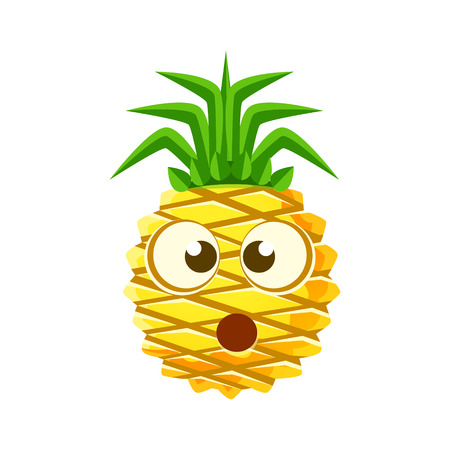 bemused: Puzzled pineapple face. Cute cartoon emoji character vector Illustration