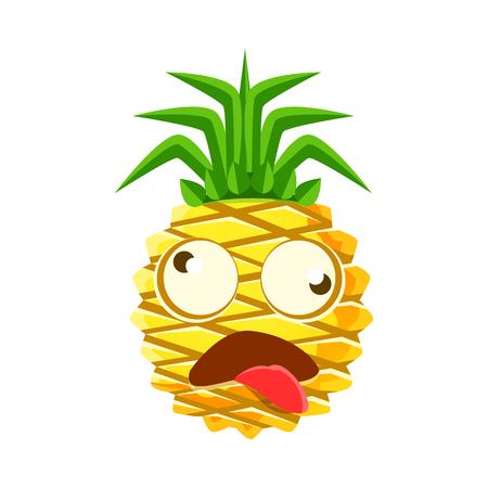 Dizzy pineapple emoticon. Cute cartoon emoji character vector Illustration
