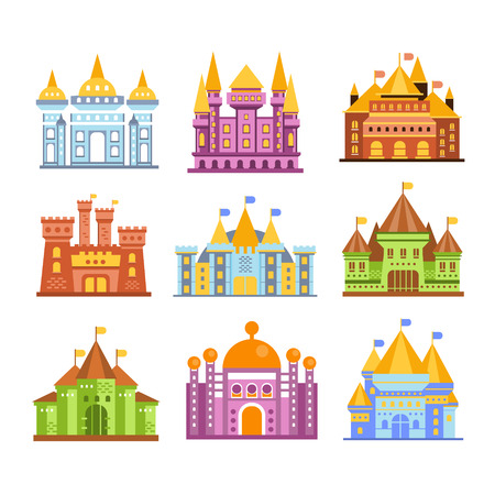 Fairy tale castles and fortresses. Collection of colorful medieval buildings vector Illustrations