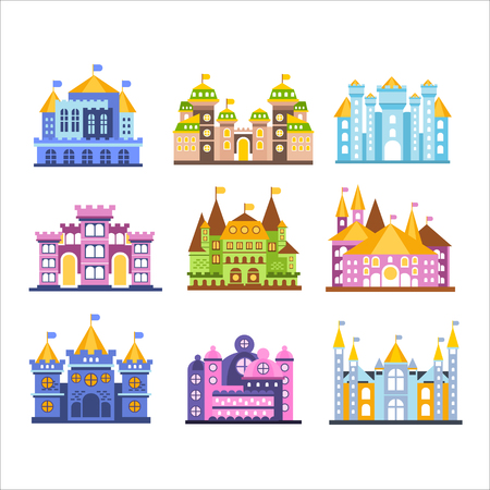 Colorful castles and mansions set. Collection of medieval buildings vector Illustrations Illusztráció
