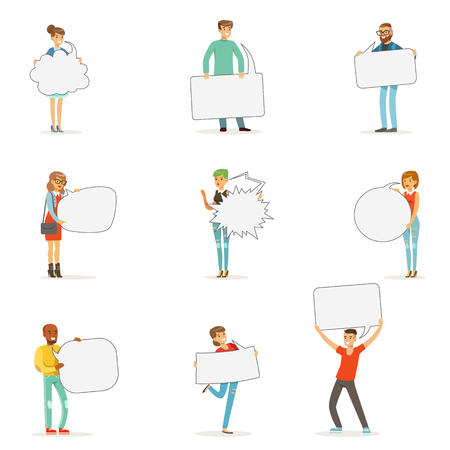 global communication: Man and woman standing and holding blank speech bubbles. Communication between people vector Illustrations Illustration