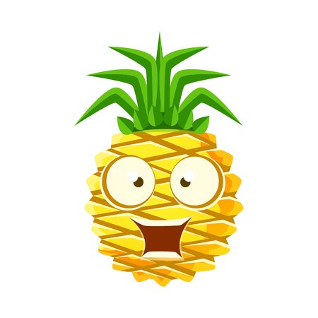 eyed: Surprised funny pineapple with big eyes. Cute cartoon emoji character vector Illustration