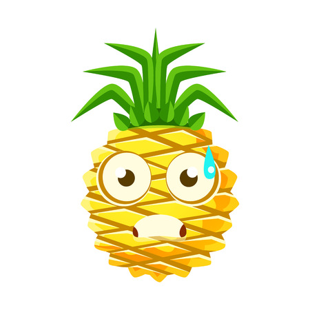 sweaty: Terrified pineapple face. Cute cartoon emoji character vector Illustration