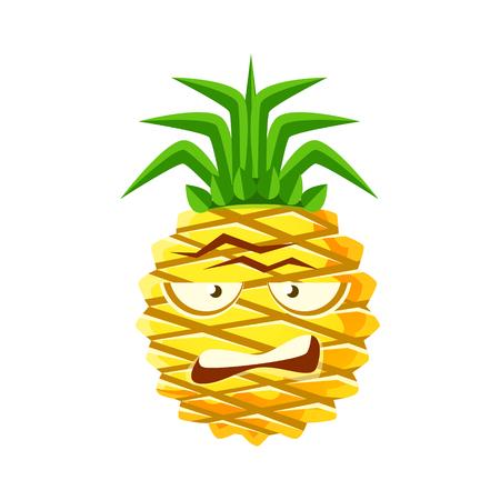 Sceptic pineapple face. Cute cartoon emoji character vector Illustration Çizim