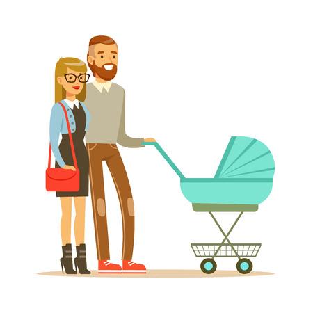 그들과 함께 산책하는 젊은 부부 청록색 유모차에서 신생아 다채로운 문자 벡터 그림 흰색 배경에 고립