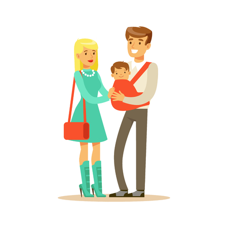 Family couple father carrying their baby in a red sling colorful characters vector Illustration isolated on a white background