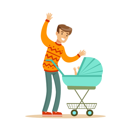 Young father walking with his newborn baby in a pram colorful character vector Illustration isolated on a white background Çizim