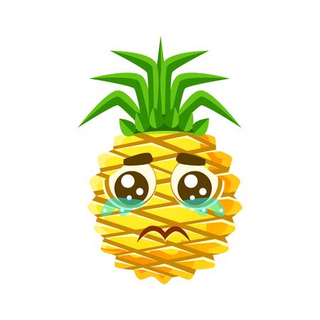 Crying pineapple emoticon. Cute cartoon emoji character vector Illustration