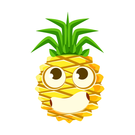 Bewildered pineapple face with big eyes. Cute cartoon emoji character vector Illustration