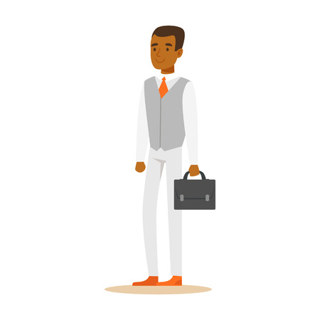 Young confident African American businessman with briefcase . Colorful cartoon character vector Illustration isolated on a white background