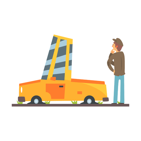 Car flat tires, car accident colorful character vector Illustration isolated on a white background