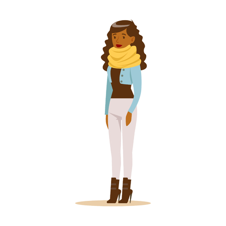 Beautiful young African American woman with curly long hair in casual clothes. Colorful cartoon character vector Illustration isolated on a white background Illustration