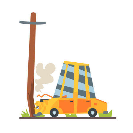 Car crashed into street post, car accident colorful character vector Illustration isolated on a white background Illustration