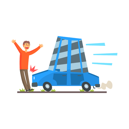 The car knocks down a man, car accident colorful character vector Illustration isolated on a white background
