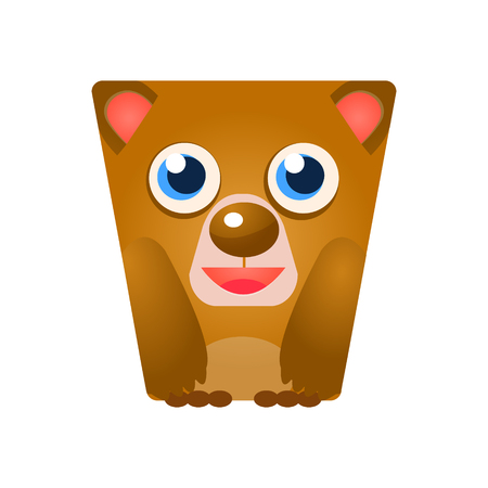 Cute friendly geometric bear, colorful cartoon character vector Illustration isolated on a white background